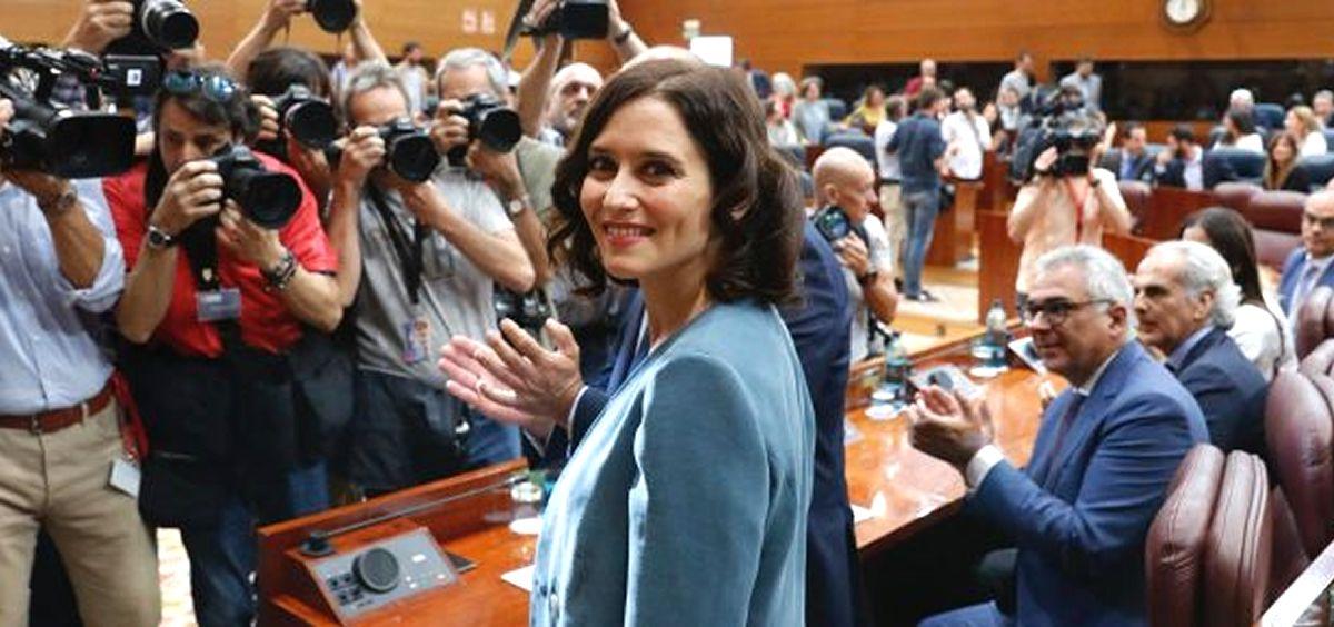 Isabel Díaz Ayuso antes del discurso de investidura en la Asamblea de Madrid (Foto: PP de Madrid)
