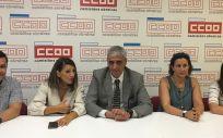 Foto de familia de la reunión entre CCOO, Grupo Común da Esquerda y Galicia en Común. (Foto. CCOO Galicia)