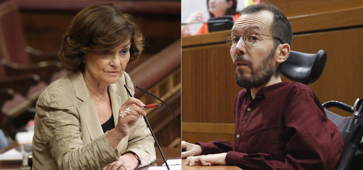 Carmen Calvo y Pablo Echenique, miembros de los equipos negociadores de PSOE y Unidas Podemos. (Fotomontaje ConSalud)