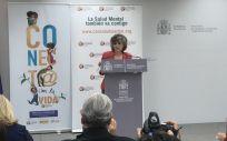 La ministra de Sanidad en funciones, María Luisa Carcedo, durante su intervención en las jornadas celebradas por el Día Mundial de la Prevención del Suicidio en el Ministerio (Foto. ConSalud).