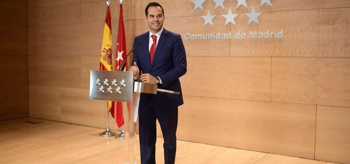 El vicepresidente de la Comunidad de Madrid y portavoz del Gobierno regional, Ignacio Aguado (Foto. Comunidad de Madrid)