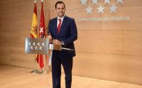 El vicepresidente de la Comunidad de Madrid, consejero de Deportes y Transparencia y portavoz del Gobierno regional, Ignacio Aguado (Foto. Comunidad de Madrid)