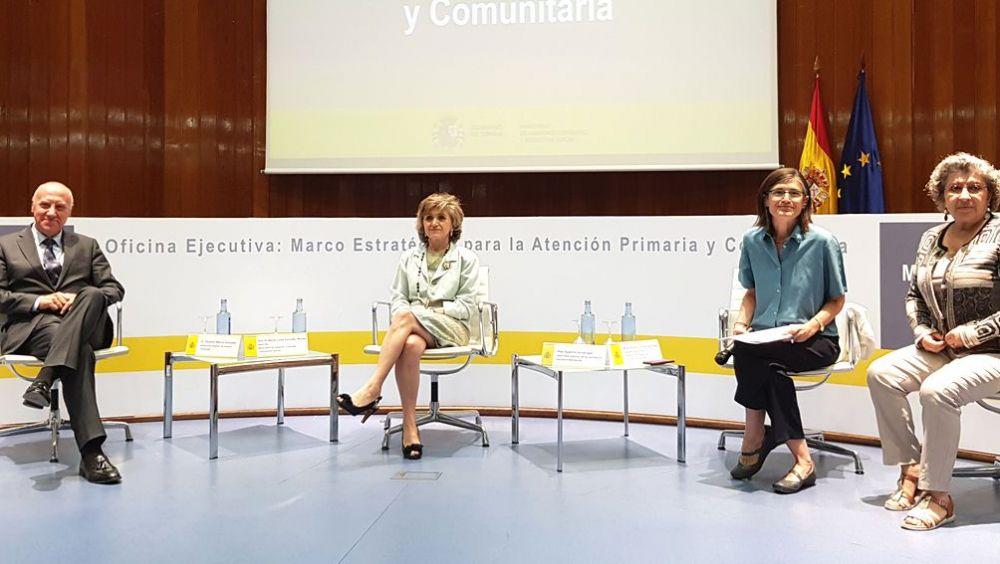 María Luisa Carcedo (centro), junto a Faustino Blanco, Pilar Aparicio y María de los Santos Ichaso (Foto: ConSalud.es)