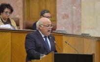 Jesús Aguirre, durante su comparecencia en el Parlamento andaluz. (Foto. Junta de Andalucía)