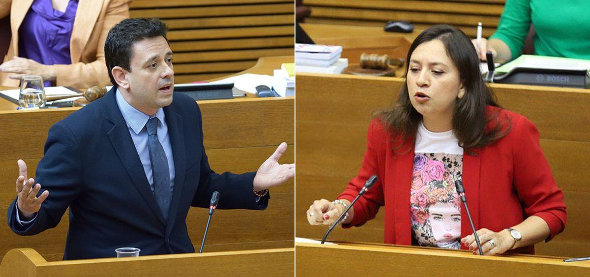 José Juan Zaplana y Yaneth Giraldo, diputados de PP y Ciudadanos en las Cortes Valencianas (Fotomontaje ConSalud.es)