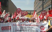 Manifestación de CC.OO. y UGT (Foto: FeSP-UGT)