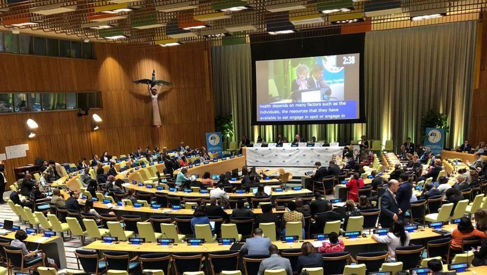María Luisa Carcedo, durante su exposición en la sesión de la ONU. (Foto: Ministerio de Sanidad)