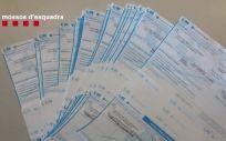 Recetas confiscadas a los detenidos en la operación policial (Foto: Mossos d'Esquadra)