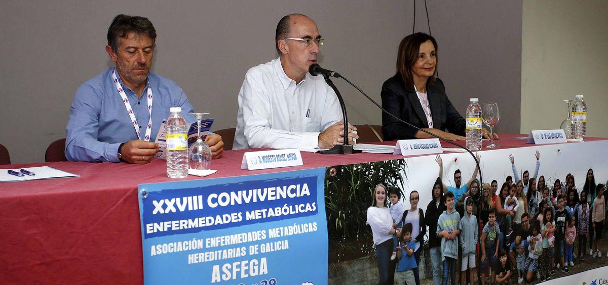 El consejero de Sanidad, Jesús Vázquez Almuiña, durante la XXVIII Convivencia de Enfermedades Metabólicas. (Foto. Xunta)