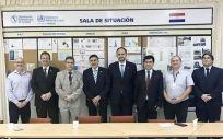 De izq. a dcha.: Rafael M. Micó (2º), José Luis Llisterri (4º), José Polo (5º), en su visita a la Organización Panamericana de la Salud