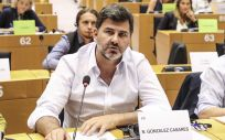 Nicolás González Casares (centro), eurodiputado del PSOE, durante un debate en el Parlamento Europeo (Foto S&D)