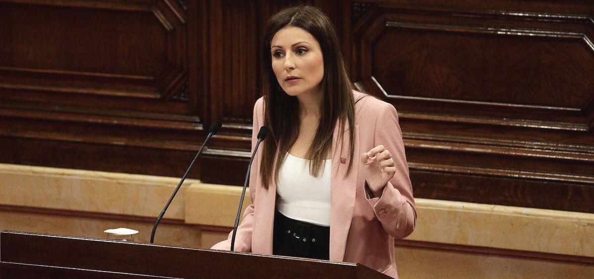 Lorena Roldán, candidata de Ciudadanos, durante el debate de la moción de censura (Foto: Ciutadans)