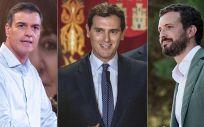 Pedro Sánchez, Albert Rivera y Pablo Casado, líderes de PSOE, Ciudadanos y PP (Foto: ConSalud.es)