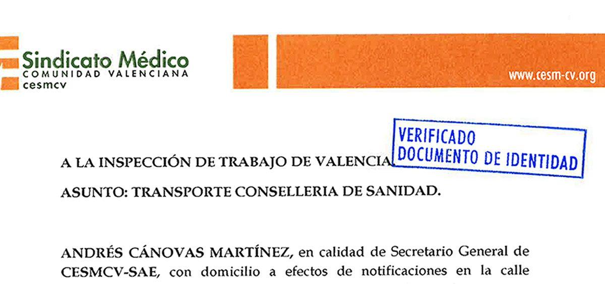 Imagen de la denuncia presentada por el Sindicato Médico de la Comunidad Valenciana (CESM CV) ante la Inspección de Trabajo. (Foto. CESM CV)