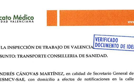 CESM-CV denuncia a la Consejería de Sanidad ante Inspección de Trabajo por el transporte sanitario