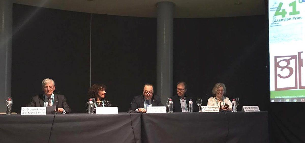 José Ramón Luis Yagüe (Farmaindustria), Milagros Bada (Sespa), Gustavo Cristóbal Rodríguez (Semergen), Juan Miguel Campayo (Osieec) y Cristina Avendaño (SEFC) (Foto. Farmaindustria)