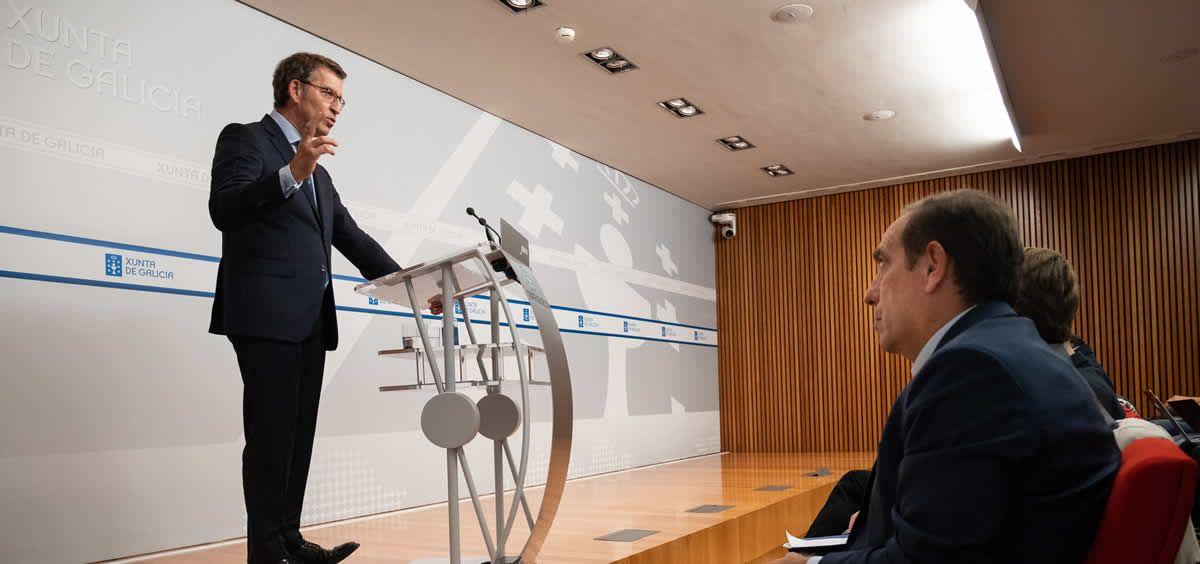 El presidente de la Xunta de Galicia, Alberto Núñez Feijóo, durante una rueda de prensa. (Foto. Xunta)