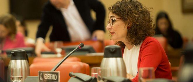 María Jesús Montero, ministra de Hacienda en funciones, interviniendo en la Diputación Permanente (Foto: Congreso de los Diputados)