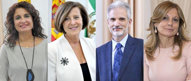 Los últimos consejeros de Salud de la Junta de Andalucía María Jesús Montero, María José Sánchez Rubio, Aquilino Alonso y Marina Álvarez (Fotomontaje ConSalud.es)