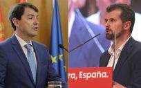 Alfonso Fernández Mañueco, presidente de la Junta de Castilla y León, y Luis Tudanca, secretario general del PSOE regional  (Fotomontaje ConSalud.es)