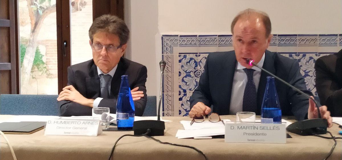 El presidente de Farmaindustria, Martín Sellés, y el director general de la compañía, Humberto Arnés (Foto. ConSalud.es)