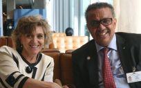 María Luisa Carcedo, ministra de Sanidad en funciones, y Tedros Adhanom, presidente de la OMS (Foto: @DrTedros)
