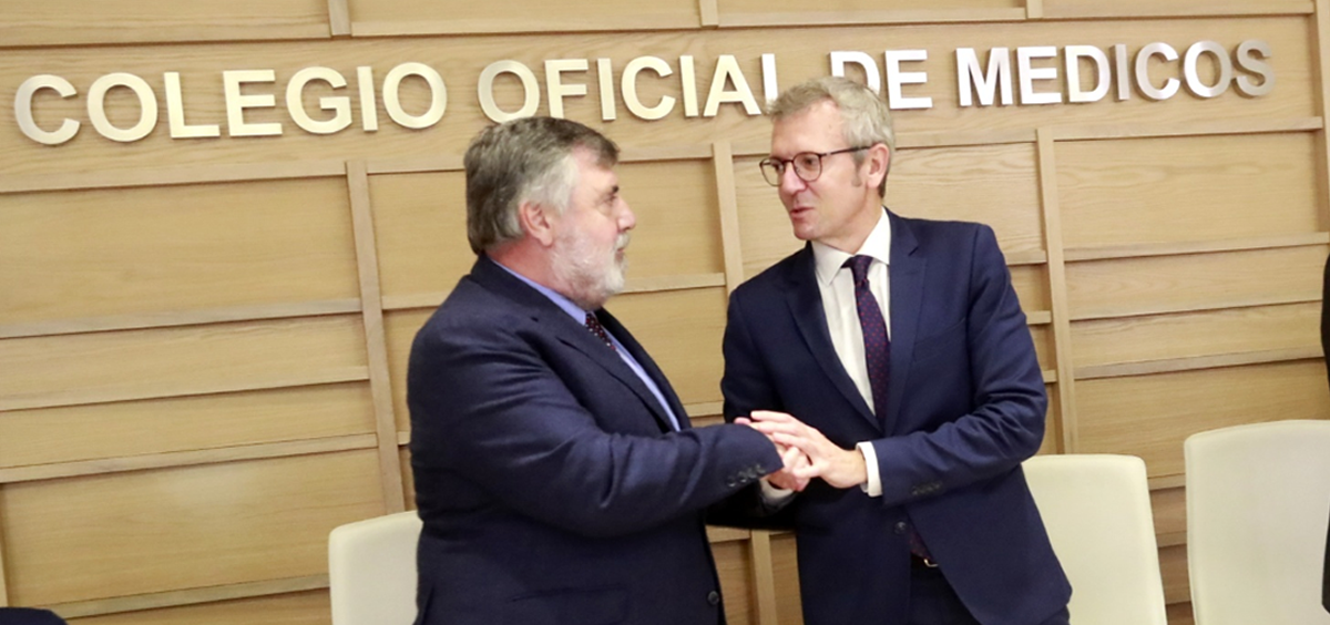 Luciano Vidán, presidente del Colegio de Médicos de La Coruña, y Alfonso Rueda, vicepresidente de la Xunta (Foto. Xunta de Galicia)