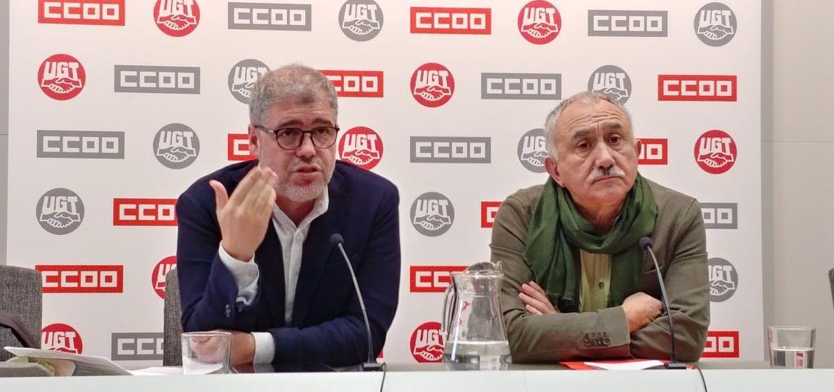 Rueda de prensa de Unai Sordo (CCOO) y Pepe Álvarez (UGT). (Foto. CCOO)