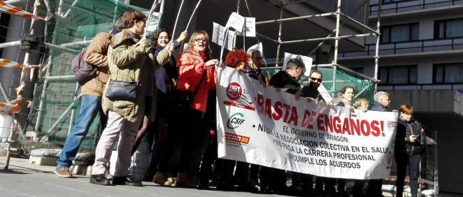 Protestas de sanitarios de Aragón. (Foto. CSIF Aragón)
