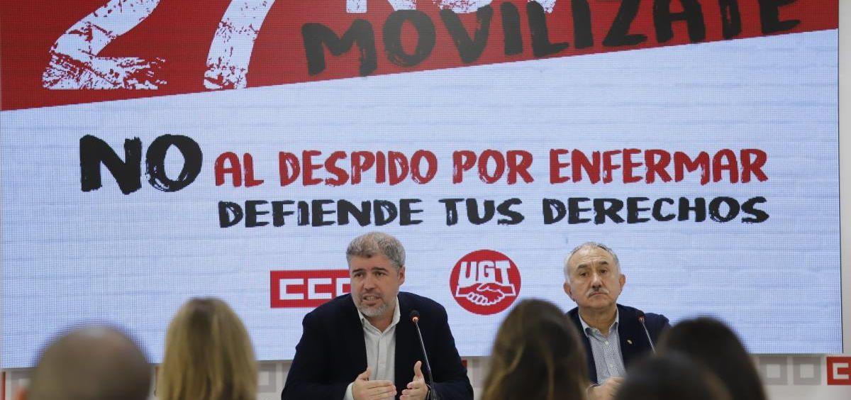El secretario general de CCOO, Unai Sordo, y su homólogo de UGT, Pepe Álvarez. (Foto. CCOO)
