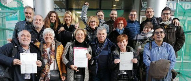 Representantes de CCOO, UGT y CSIF tras la firma del preacuerdo con el Servicio Aragonés de Salud. (Foto. CCOO Aragón)