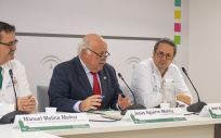 Jesús Aguirre, consejero de Salud y Familias de Andalucía en la presentación de los resultados de las terapias CAR-T (Foto. Junta de Andalucía)