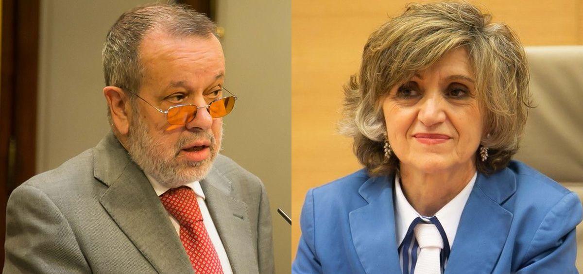 El Defensor del Pueblo, Francisco Fernández Marugán, y la ministra de Sanidad, María Luisa Carcedo (Montaje ConSalud.es)