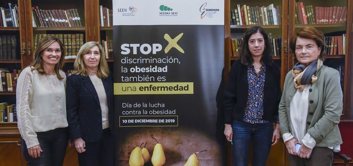 Las representantes de la SEEN, SEEDO y SEMERGEN, este martes en Madrid (Foto: Berbés)