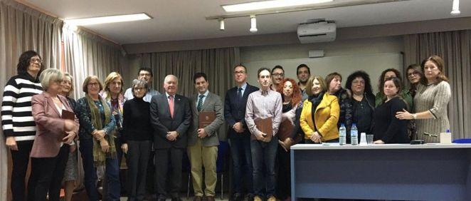 Pablo Fernández Muñiz junto a Esteban Gómez, en la toma de posesión de la junta directiva de Codepa (Foto. Gobierno de Asturias)
