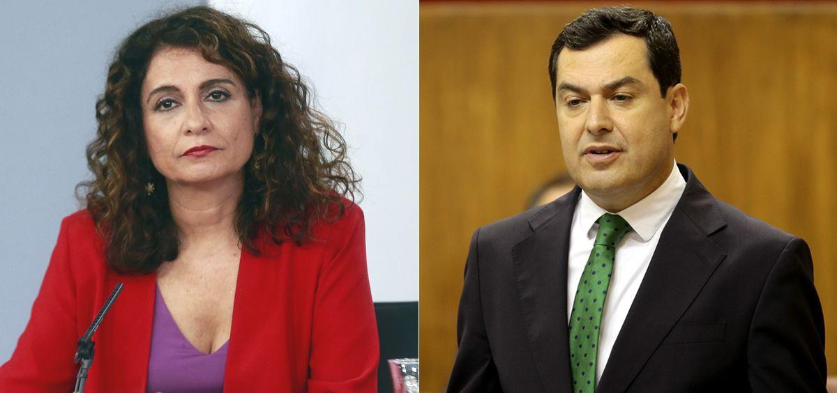 María Jesús Montero, ministra de Hacienda, y Juanma Moreno, presidente de la Junta de Andalucía (Fotomontaje ConSalud.es)