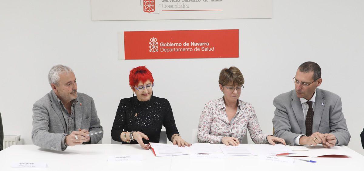 De izquierda a derecha: Artundo, Induráin, Mena y Pérez (Foto. Gobierno de Navarra)