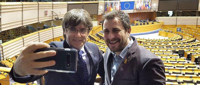 Carles Puigdemont y Toni Comín en el Parlamento Europeo (Foto: @toni_comin)