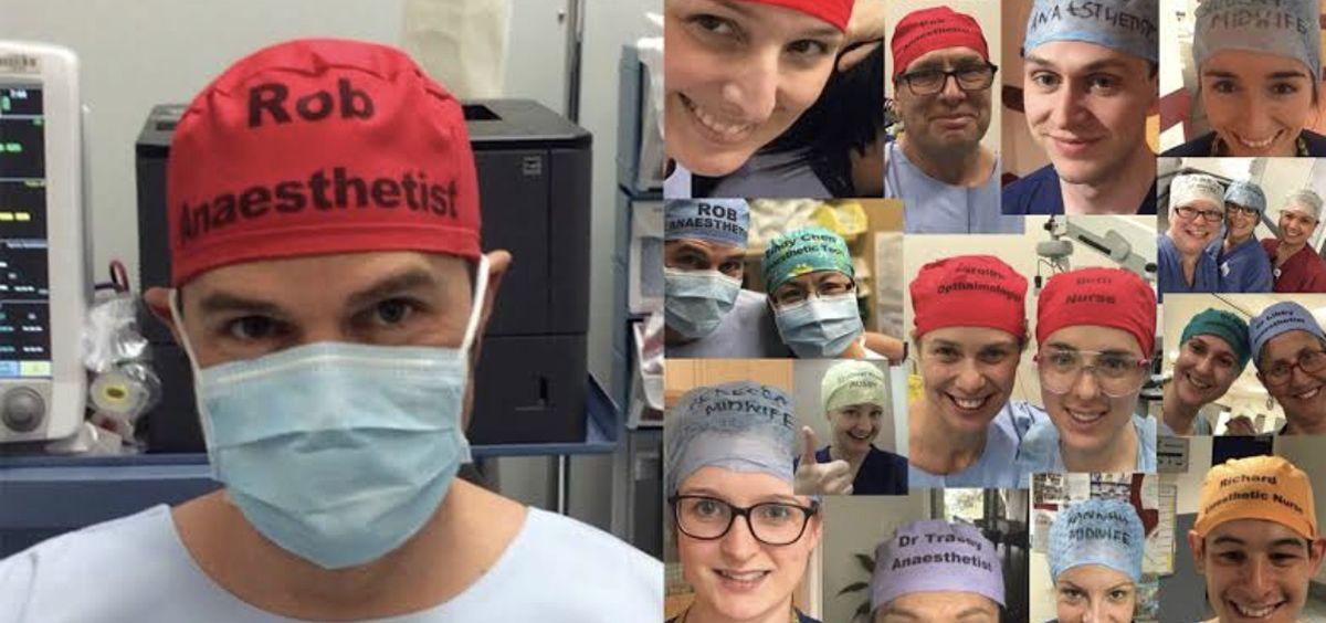 El anestesiólogo y creador del reto, Rob Hacket, junto a numerosos profesionales unidos por la causa (Foto.@TheatreCaps)