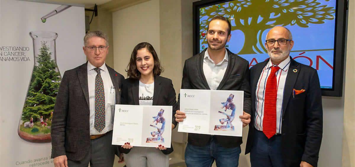 Pedro Prada, Silvia Domínguez, Jesús Galán y Miguel Rodríguez durante el acto de entrega de las becas de investigación (Foto. Gobierno de Cantabria)