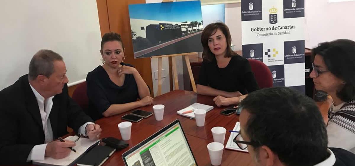 La consejera de Sanida de Canarias, Teresa Cruz durante la reunión (Foto. Gobierno de Canarias)