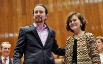 Pablo Iglesias, vicepresidente de Derechos Sociales y Agenda 2030 junto a Carmen Calvo, vicepresidenta y ministra de la Presidencia y de Relaciones con las Cortes. (Foto. @PabloIglesias)