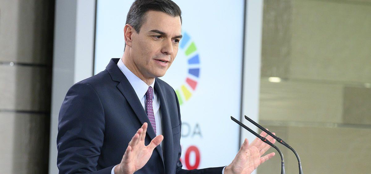 El presidente del Gobierno, Pedro Sánchez, durante una rueda de prensa. (Foto. Pool Moncloa Borja Puig de la Bellacasa)