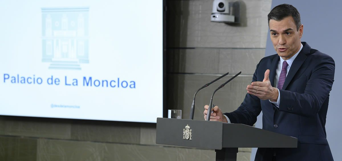 El presidente del Gobierno, Pedro Sánchez, ante los medios de comunicación. (Foto. Pool Moncloa Borja Puig de la Bellacasa)