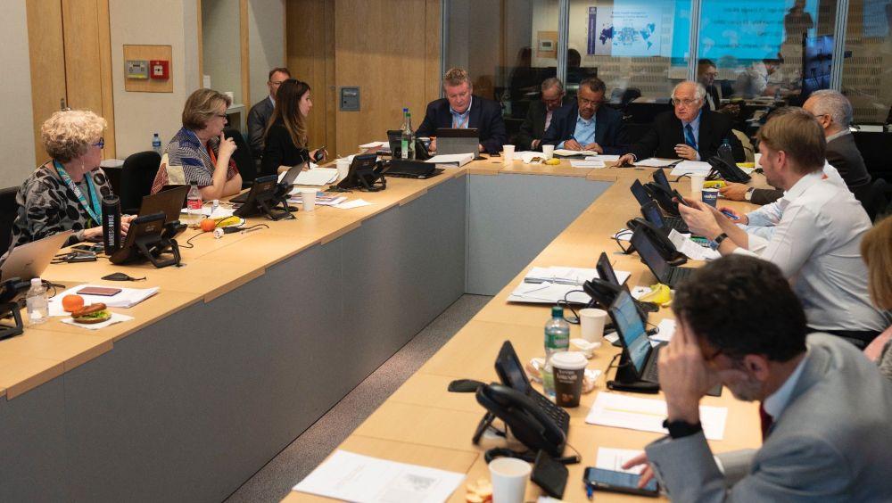 El director general de la OMS, Tedros Adhanom, durante la reunión con el Comité de Expertos