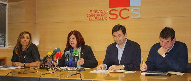Mónica Hernández, Celia Gómez, Rafael Tejido y Pedro Herce durante la presentación de las acciones de mejora de la lista de espera (Foto. Gobierno de Cantabria)