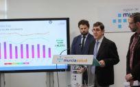El consejero de Salud, Manuel Villegas, presentando los indicadores de listas de espera a diciembre de 2019 (Foto. Región de Murcia)