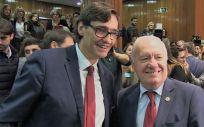 El ministro de Sanidad, Salvador Illa y el presidente del Consejo Genera del Enfermería, Florentino Pérez Raya (Foto. CGE)