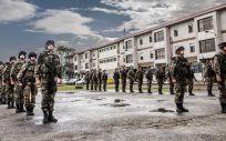Alumnos de Infantería de Marina de la Escuela Naval Militar de Marín se adiestran con la 3º Escuadrilla de la FLOAN. (Foto.  Sgto Manuel Benítez Cillán   ENM)