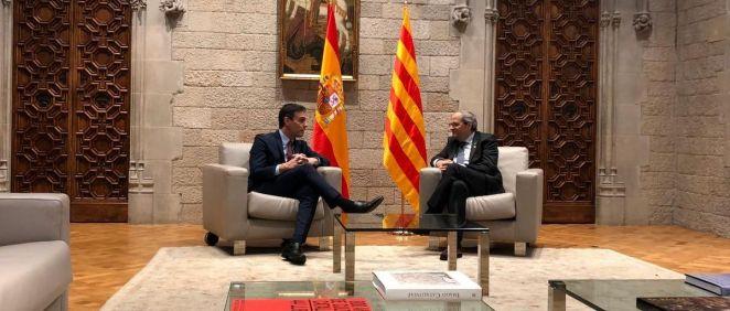 Pedro Sánchez y Quim Torra reunidos en el Parlament de Cataluña (Foto: @PSOE)